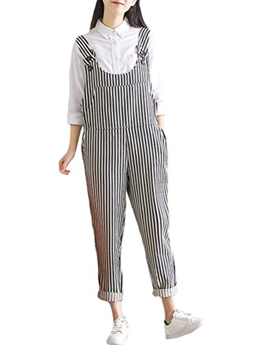 Mordenmiss Women's New Rompers Casual Strapless Jumpsuit Overalls M Style 4-Stripes (Strapless Linen)