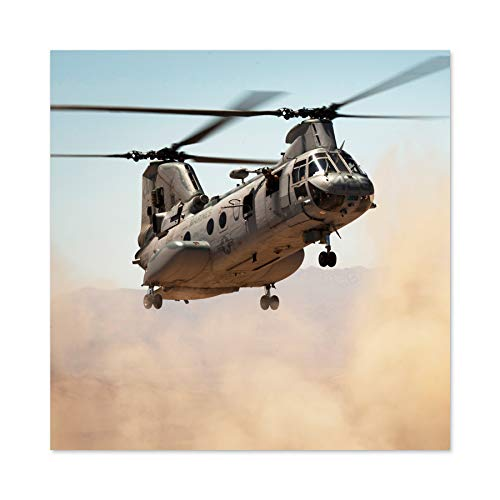 Military USA Marine Corps Helicopter CH-46E Sea Knight Photo Large Wall Art Poster Print Thick Paper 24X24 Inch