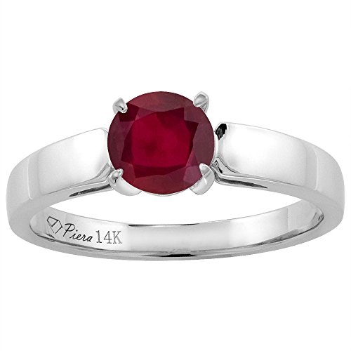 Genuine Round Ruby Solitaire Ring - 14K White Gold Enhanced Genuine Ruby Solitaire Engagement Ring Round 7 mm, size 5