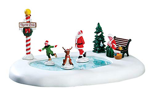 Lemax Village Collection PartialUpdate Np B/O Ice Follies Rink White, Red, Black, Green, Yellow by Lemax Village Collection