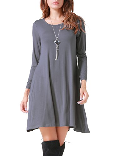 Dress Shirt Swing Flowy Sleeve Casual Gray Simple T Long Loose Costyleen Women's AxzvapqwZB