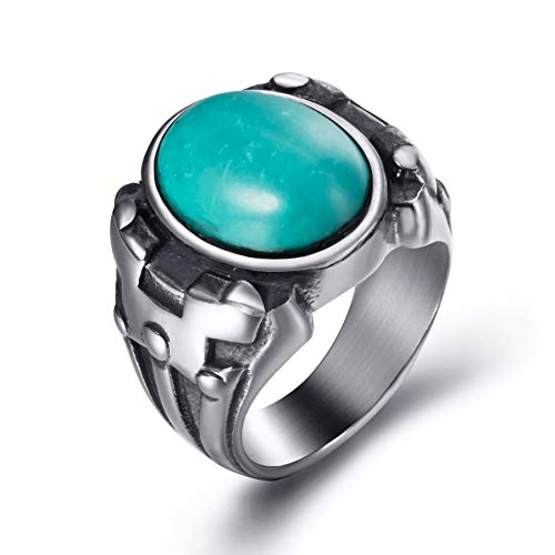 (Elfasio Men Synthetic Oval Turquoise Stainless Steel Ring Vintage Gothic Jewelry Size 10)