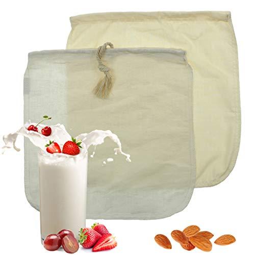 Bolsa de leche de almendra - Paquete de leche ecológica de algodón / cáñamo con 2 paquetes, colador de alimentos...
