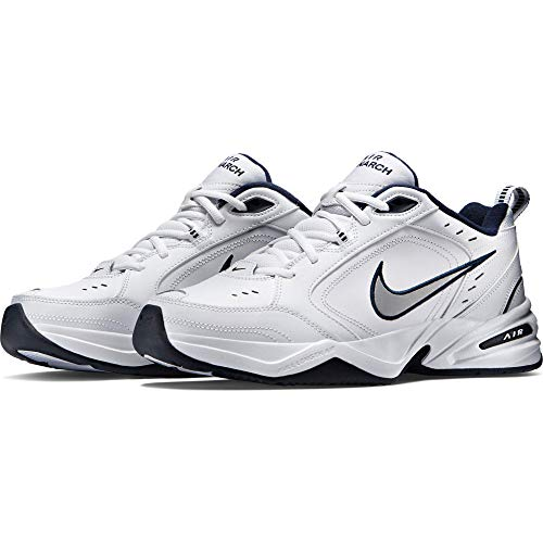 Nike Men's NIKE AIR MONARCH IV (4E) RUNNING SHOES - US 10;   White / Metallic Silver-Midnight Navy