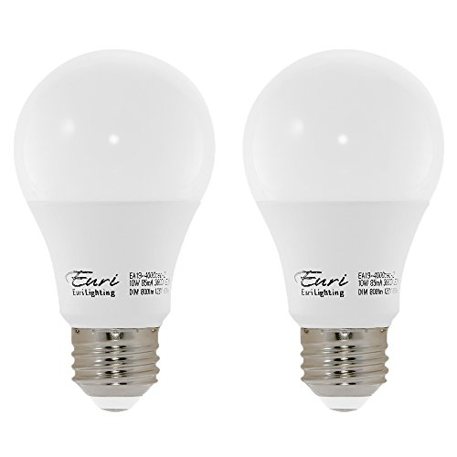 Bulb Med 60w (Euri Lighting EA19-4000cec-2 LED A19 Bulb, E-Lite Line, Soft White 3000K, Dim, 10W (60W Equivalent) 800 lm, 319 Degree Beam Angle, 90+ CRI, Med. Base (E26) UL, E-Star Listed, CEC (Pack of 2))