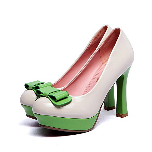 Allhqfashion Womens Pull-on Pumps Pu Assorted Colour Ronde Pumps Gesloten Pumps Wit