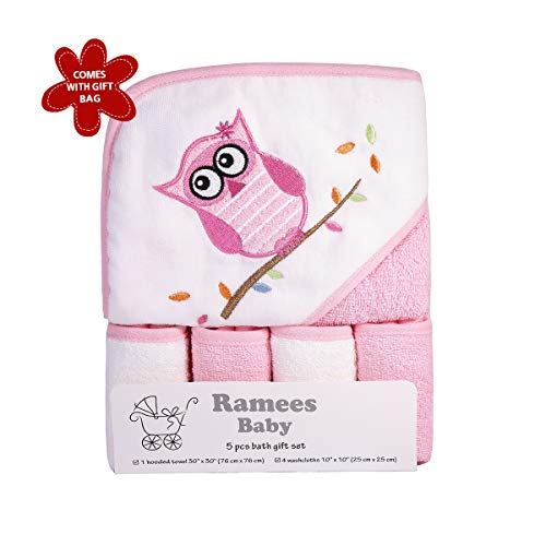 Ramees Baby Hooded Towel and Washcloths Bath Set, 5 Pack, Pink Owl (Owl Towels Bath)