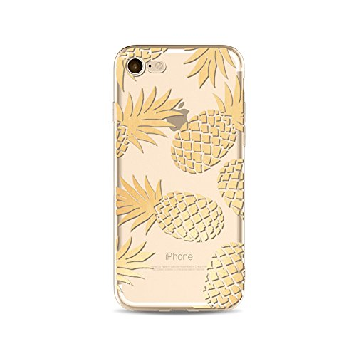 For iPhone 8 TPU Case Clear, for iPhone 7 Case, CrazyLemon Ultra Slim Transparent Flexible Soft TPU Silicone Back Rubber Bumper Clear 3D Creative Variety Pineapple Pattern Design Protector Cover Case for iPhone 7 / iPhone 8 4.7 inch - Pineapple Pattern 11