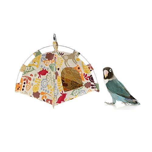 Stock Show Bird Tent Parrot Hanging Hammock with Soft Dual-use Mat Budgerigar Cockatiels Cockatoo Conure Lovebird Finch Nest Parakeet Tent Hut Cage Decor for Small Animals Birds, Yellow by Stock Show (Image #2)