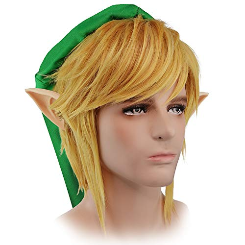 Link Cosplay Wig Glod Hair Legend of Zelda Halloween Costume Wig -
