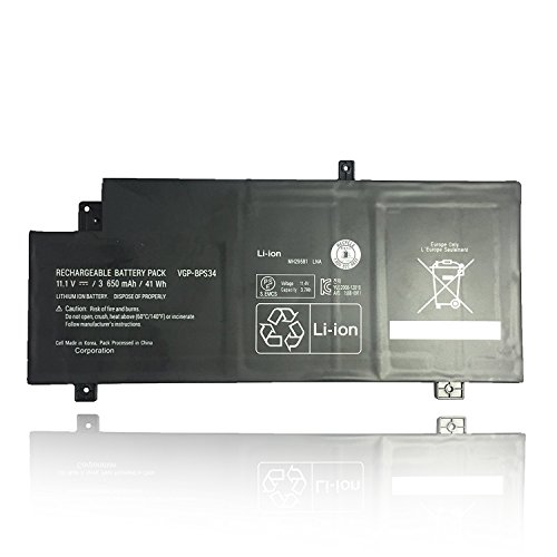 Sony Vaio Battery Pack (Emaks VGP-BPL34 Battery BPS34 for Sony Vaio SVF14A15CXB SVF14AC1QL SVF14AC1QU SVF14A14CXP SVF14A14CXS SVF14A15CXP SVF14A14CXB - 11.1V 3650mAh/41Wh)