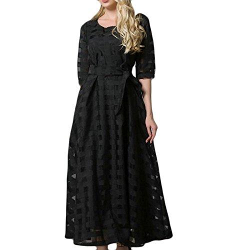 Domple Sexy Des Femmes De Manches Courtes Organza Mesh Bowknot Floral Évasée Robe Maxi Noir