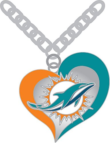 aminco NFL Miami Dolphins Swirl Heart Necklace