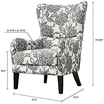 Madison Park Arianna Accent Hardwood, Faux Linen Modern Contemporary Style Living Room Sofa Furniture Swoop Wing Arm Bedroom Chairs Seats, Deep, Floral