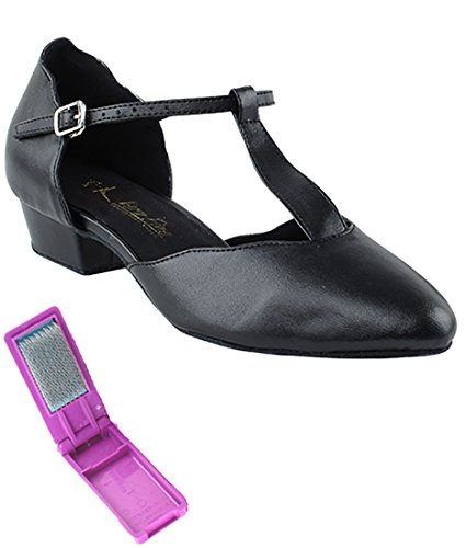 cheap sale low price fee shipping Very Fine Ballroom Salsa Practice Dance Shoes for Women 6819FT 1-Inch Heel + Foldable Brush Bundle Black Leather clearance 2015 new free shipping with paypal great deals cheap online for nice sale online wzU9GTAuMq