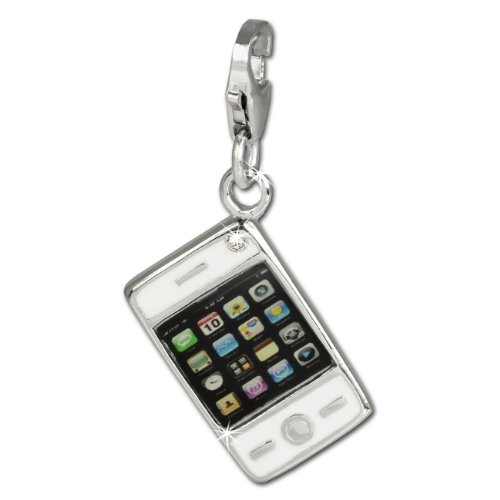 SilberDream Charm white enameled Smartphone 925 Sterling Silver Pendant Lobster Clasp FC659
