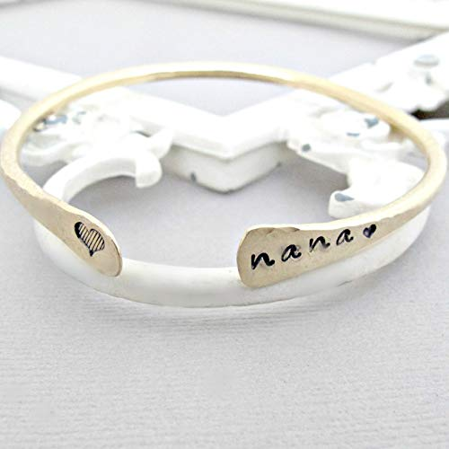 Love Heart Nana Bracelet GOLD Cuff Bangle Bracelet Handstamped Jewelry