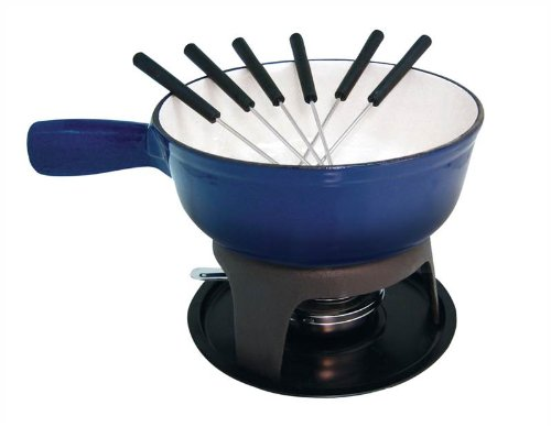 Le Cuistot Enameled Cast-Iron Cheese Fondue Set 8.25 Inches - 2 Tone Blue by Le Cuistot