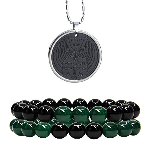 Anti EMF Radiation Protection Pendant, Volcanic Lava Negative Ions Scalar Energy Pendant Necklace and Distance Relationship Couples Beads Bracelet from EneQutum