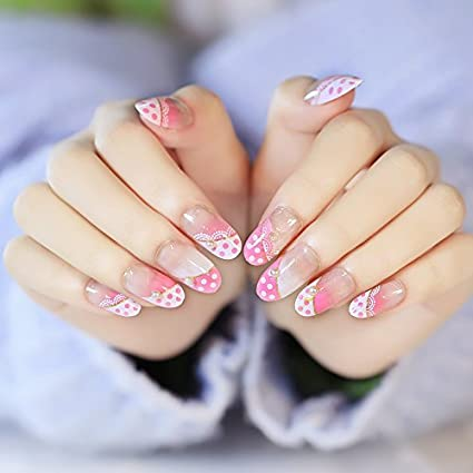 YUNAI uñas postizas - El fantástico y estilo princesa MD-larga de color rosa perla del clavo falso linda de las muchachas: Amazon.es: Belleza