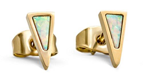 c310047b4 Stud Earrings Opal Dagger - Triangle 14k Gold Dipped Small White Fire Opals  Earring for Women