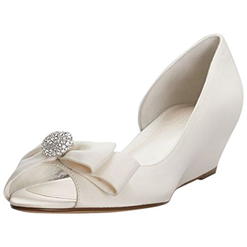 Bow Peep Toe Wedge (David's Bridal Bow-Embellished Satin D orsay Wedges Style rebecka, Ivory, 7.5)
