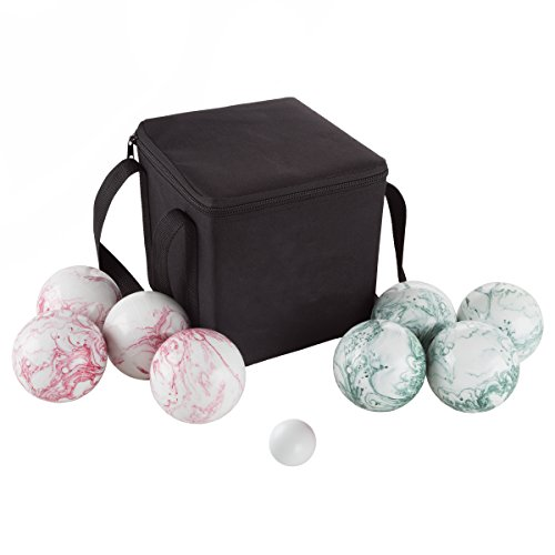 Swirl Ball - Hey! Play! Bocce Ball Set- Outdoor Family Bocce Game for Backyard, Lawn, Beach and More- 4 Red and 4 Green Swirl Balls, Pallino and Carrying Case