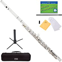 Mendini MFE-N+SD+PB Nickel Plated Closed Hole C Flute with 1 Year Warranty, Case, Stand, Cleaning Rod and Cloth, Joint Grease, and Gloves