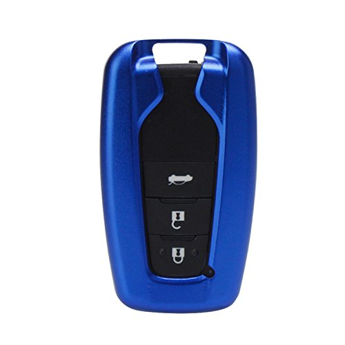 [M.JVisun] Key Fob Cover For Toyota Key Fob Remote Key, Fits Toyota Camry 2018 Toyota C-HR Smart Keyless Start Stop Engine Car Key, Aircraft Aluminum Key Fob Case + Genuine Leather Keychain - Blue