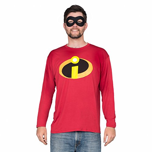 Design Your Own Hero Costume (The Incredibles Basicon Red Long Sleeve T-Shirt and Mask Costume Set (Adult)