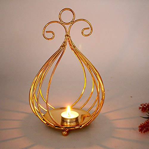 Maikouhai Metal Iron Wire Christmas Hollow Candle Holder Candlestick Creative Xmas Decor Wedding Party Decoration for Study, Bookshelf, Nightstand, Gold -