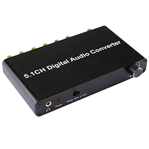 Audio Cables, 5.1CH Digital Audio Decoder Converter with Optical Toslink SPDIF Coaxial for Home Theater / PS4 / PS3 / XBOX360, Support Volume Control, AC-3, DTS