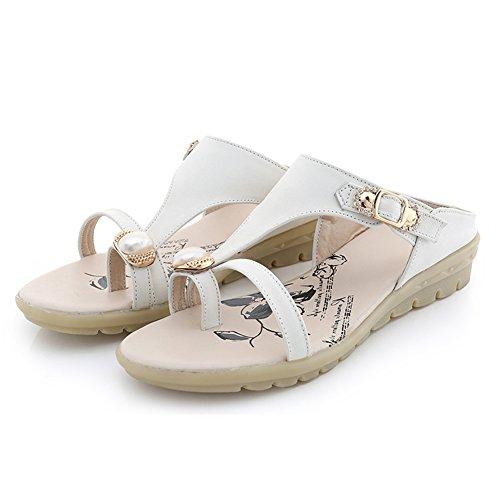 abb9ad9e LIXIONG Zapatillas de verano mujer Moda de fondo plano suave fondo Zapato de  playa de arena