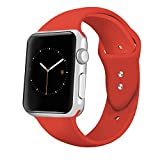 iGK Sport Band Compatible for Apple Watch 38mm, Soft Silicone Sport Strap Replacement Bands Compatible for iWatch Apple Watch Series 3, Series 2, Series 1 38mm Orange Red Small