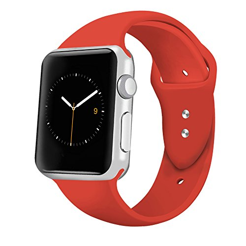 iGK Sport Band Compatible for Apple Watch 42mm, Soft Silicone Sport Strap Replacement Bands Compatible for iWatch Apple Watch Series 3, Series 2, Series 1 42mm Orange Red Small