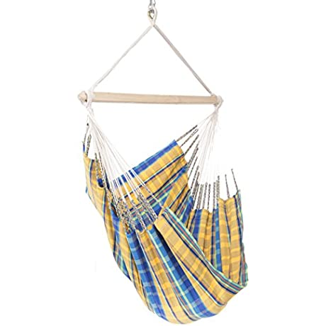 Colombian Hammock Chair 44 Inch Natural Cotton Cloth Yellow And Blue Plaid