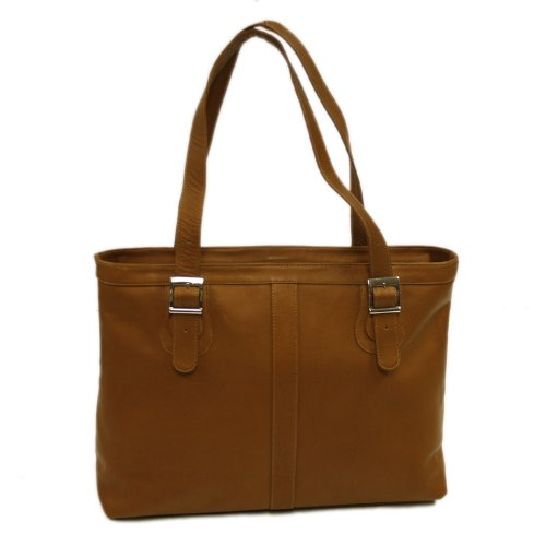 Piel Leather Ladies Laptop Tote, Saddle, One Size by Piel Leather