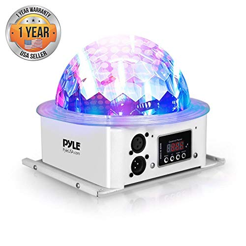 Ceiling Projector DJ Party Light - Disco Ball Lamp Strobe Party Stage Lights w/ RGB Color LED Bulb, Beat Sync Motion Effect, DMX Control for Colorful Light Show, Home Dance Party - Pyle PDJLT10 Dmx Mirror Ball Motor