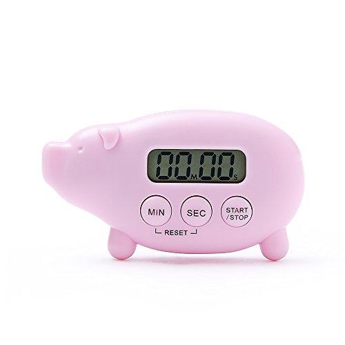 FaSoLa Kitchen Digital Timer Reminder Multifunction Timer Stopwatch Large Screen Alarm Clock (Pink Pig)