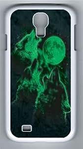 Glow Wolf Moon Custom Samsung Galaxy I9500/Samsung Galaxy S4 Case Cover Polycarbonate White