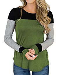 Women's Casual Long Sleeve Shirts Round Neck Color Block Tunic Tops Blouses