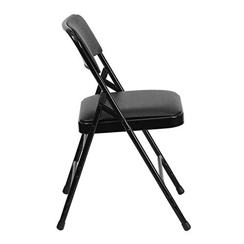 (4 PACK) Heavy Duty Triple Braced & Quad Hinged Black Vinyl Metal Folding Chair