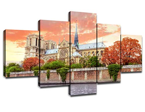 5 Panel Wall Art Notre Dame de Paris Painting on Canvas Classic Art Artwork Large Home Decor Prints Pictures Christ Poster Decoration Wooden Frame Ready to Hang(60''Wx32''H)