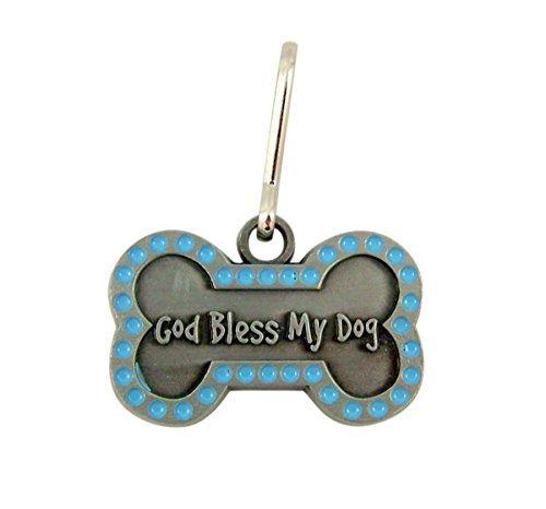 God Bless My Dog Brushed Pewter and Blue Enamel Bone Shaped Pet Medal, 1 1/4 Inch (Blue Enamel Bone)