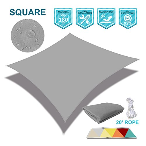 Coarbor 12 x 12 Square Light Gray Waterproof Sun Shade Sail Perfect for Patio Outdoor Garden