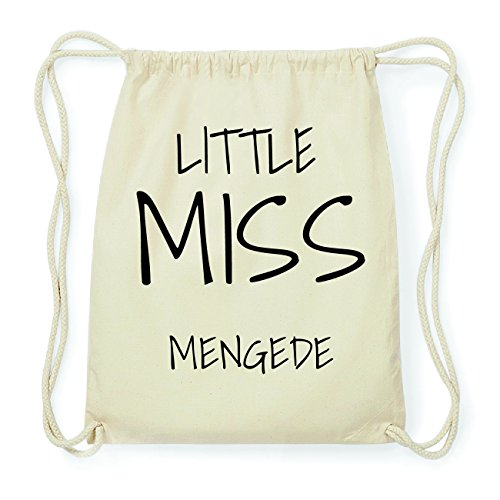JOllify MENGEDE Hipster Turnbeutel Tasche Rucksack aus Baumwolle - Farbe: natur Design: Little Miss
