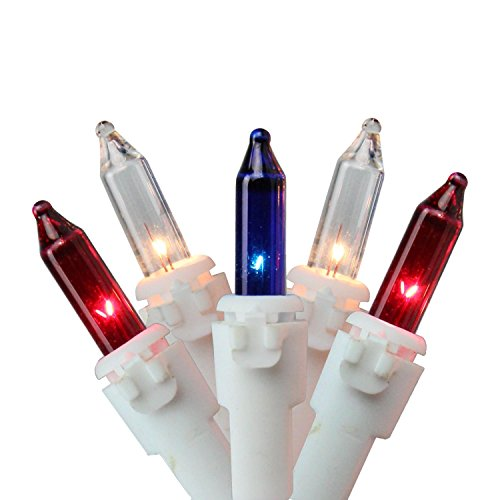 Set of 100 Red, White and Blue Patriotic Mini Lights 2.5