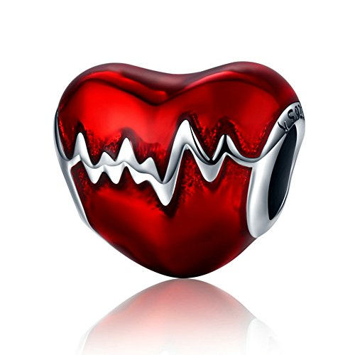 BEAUTY HEARTBEAT Charm 925 Sterling Silver Red Enamel HEART Bead Valentine's Day For Lady and (Red Heart Silver Beads)