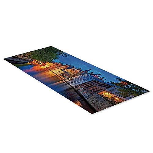 - C COABALLA Medieval Decor Waterproof Floor Sticker,Night Shot of Historic Middle Age Building Along The River in Bruges Heritage Old Town Photo for Kitchen Living Room,35.4