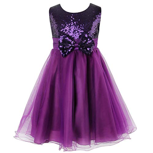Sequin Dress for Girl, Acecharming Knee Length Sleeveless Bow-knot Design Wedding Fancy Party Tulle Dress,Purple,Size 4 Suitable for 3-4 years old